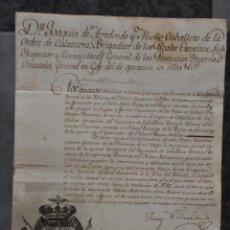 Militaria: NOMBRAMIENTO D. JOAQUIN DE ARREDONDO Y MIOÑO , ORDEN DE CALATRAVA , MEXICO 1815 . Lote 80630282