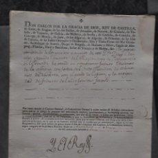 Militaria: NOMBRAMIENTO CARLOS IV 1795 , NAVARRA , MANUEL DE NEGRETE Y DE LA TORRE . Lote 80630610