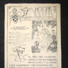Militaria: REVISTA MASTIL. Nº2. MADRID. SOMOSIERRA. 1945. FALANGE. PROPAGANDA FASCISTA. RARO . Lote 80727598