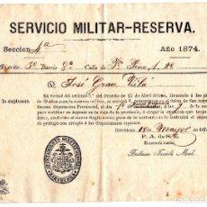 Militaria: SERVICIO MILITAR- RESERVA 1874. Lote 80884871