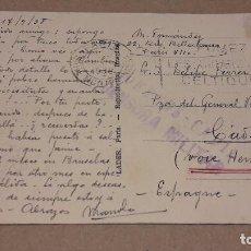 Militaria: CENSURA MILITAR - CORREOS CÁDIZ SOBRE POSTAL CIRCULADA / PARÍS-CÁDIZ EN 1938.. Lote 81442252