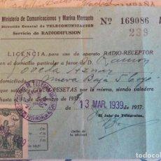 Militaria: ALICANTE 1939 - LICENCIA DE RADIO GUERRA CIVIL - SELLO TELÉGRAFOS - MATASELLO COMANDANCIA MILITAR . Lote 82083172