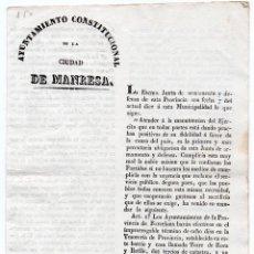 Militaria - JUNTA DE ARMAMENTO Y DEFENSA DE BARCELONA. ORDEN DE CONTRIBUCIÓN MUNICIPAL PARA EL EJÉRCITO. 1843 - 82584988