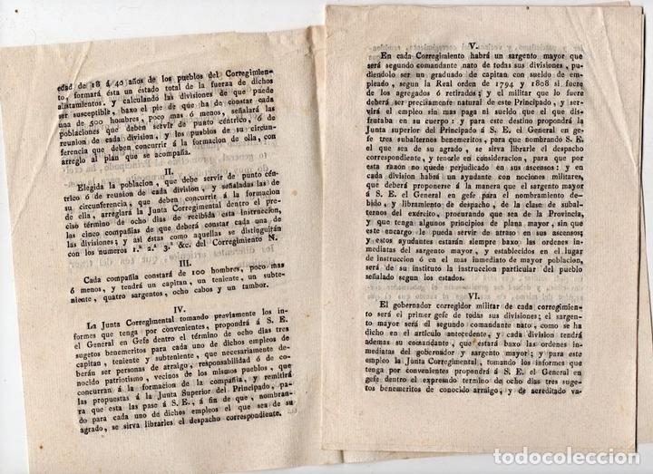 Militaria: JUNTA CORREGIMENTAL DE CATALUÑA. CREACIÓN DE EJÉRCITO DE RESERVA. GUERRA INDEPENDENCIA. 1811 - Foto 2 - 82603804