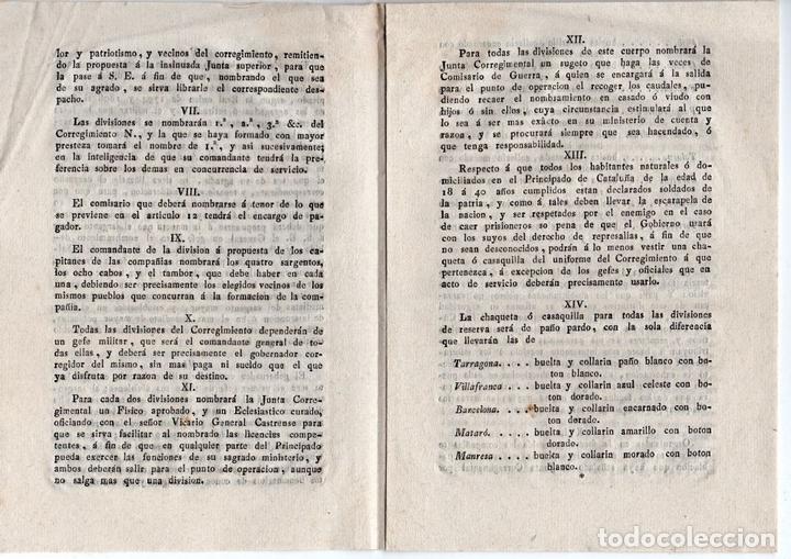 Militaria: JUNTA CORREGIMENTAL DE CATALUÑA. CREACIÓN DE EJÉRCITO DE RESERVA. GUERRA INDEPENDENCIA. 1811 - Foto 3 - 82603804