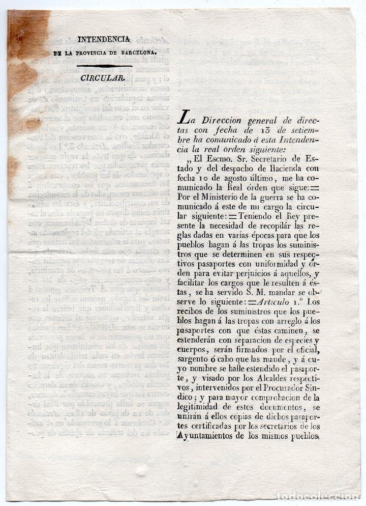 INTENDENCIA DE BARCELONA. CIRCULAR A SAN JUAN DE OLÓ. SUMINISTROS A TROPAS. 1823 (Militar - Propaganda y Documentos)