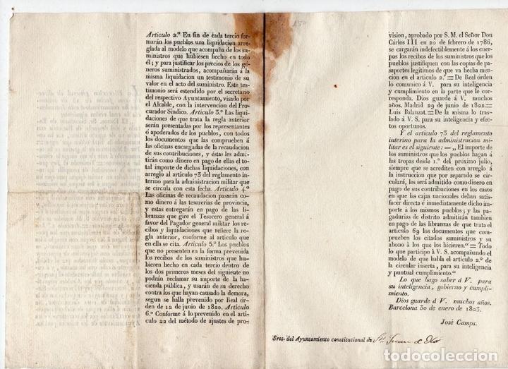 Militaria: INTENDENCIA DE BARCELONA. CIRCULAR A SAN JUAN DE OLÓ. SUMINISTROS A TROPAS. 1823 - Foto 2 - 82607388