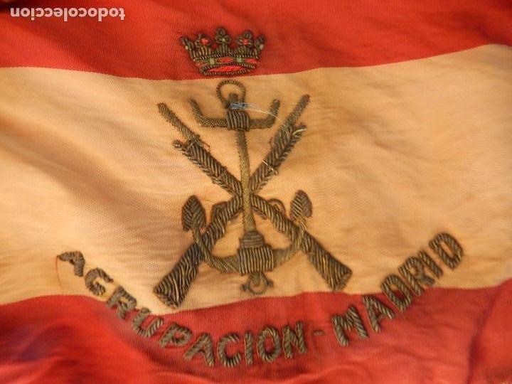 Militaria: Marina de Guerra. Bandera sobremesa. Infantería de Marina. Agrupación Madrid. De los años 1968-1975. - Foto 5 - 83646360