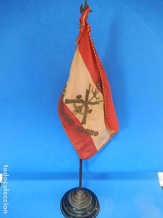 Militaria: Marina de Guerra. Bandera sobremesa. Infantería de Marina. Agrupación Madrid. De los años 1968-1975. - Foto 7 - 83646360