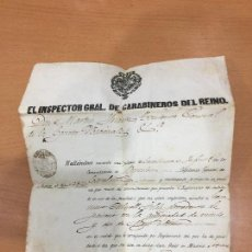Militaria: CARABINEROS DEL REINO NOMBRAMIENTO DE CARABINERO DE INFANTERIA 1860. Lote 85065360
