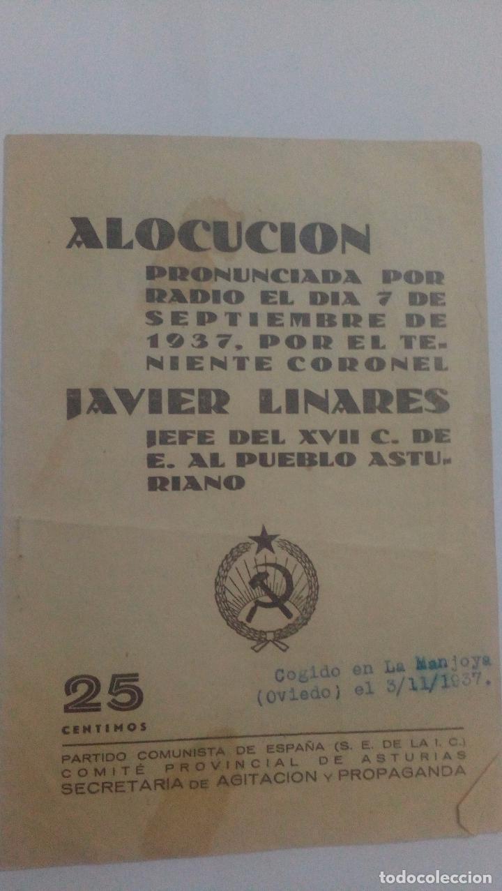 ALOCUCION TENIENTE CORONEL JAVIER LINARES (Militar - Propaganda y Documentos)