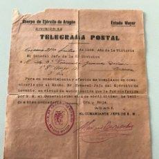 Militaria: TELEGRAMA POSTAL.DIVISION 53 CUERPO EJERCITO DE ARAGON. Lote 85888472