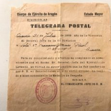 Militaria: CUERPO EJERCITO DE ARAGON TELEGRAMA POSTAL. Lote 85896607