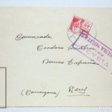 Militaria: SOBRE CON MARCAS POSTALES DE LA GUERRA CIVIL - SCC 111 / CENSURA MILITAR - SELLO REPÚBLICA, 1937. Lote 86343040