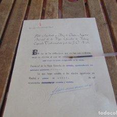 Militaria: CESE NOMBRAMIENTO VOCAL DE LIBRE DESIGNACION DE LA VIEJA GUARDIA SEVILLA FALANGE. Lote 87201580