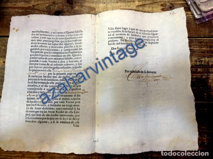 Militaria: SANLUCAR LA MAYOR, SEVILLA,1716, CUARTEL PARA REGIMIENTO DE DRAGONES DESMONTADOS, LEER - Foto 2 - 87841600