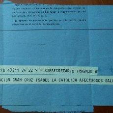 Militaria: TELEGRAMA ANTONIO IBAÑEZ FREIRE,CAPITAN DIVISION AZUL,CRUZ DE HIERRO Y MEDALLA MILITAR INDIVIDUAL. Lote 88620076