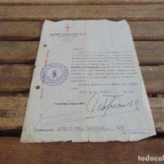 Militaria: DOCUMENTO CARTA FALANGE APROBAR PROPUESTA CONCESION DE LA MEDALLA DE CAMPAÑA 1941. Lote 89070704