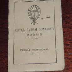 Militaria: CARNET CENTRAL NACIONAL SINDICALISTA, MADRID, CARNET PROVISIONAL, FALANGE, NOVIEMBRE DE 1939, RECIEN. Lote 89094560