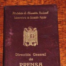 Militaria: CARTERA DE IDENTIDAD DE LA SUBSECRETARIA EDUCACION POPULAR, DIRECCION GENERAL DE PRENSA, AÑO 1949, R. Lote 89097832