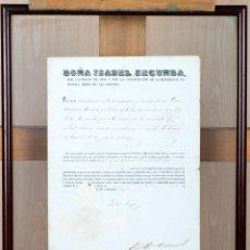 Militaria: NOMBRAMIENTO TENIENTE CORONEL ARTILLERIA OTORGADO Y FIRMADO ISABEL II 1862. Lote 89279020