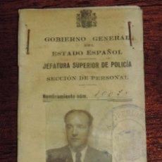 Militaria: CARNET DE LA REPUBLICA, GOBIERNO GENERAL DEL ESTADO ESPAÑOL, JEFATURA SUPERIOR DE POLICIA, MIDE 11 X. Lote 89312388