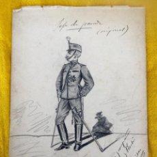 Militaria: DIBUJO JEFE DE PARADA 1902 REGALO MILITAR ANTONIO VILLALBA X LUIS ARRIBAS ACADEMIA INFANTERIA TOLEDO. Lote 89491784