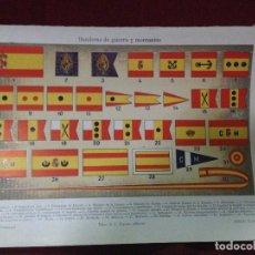 Militaria: ANTIGUA CROMOLITOGRAFÍA A COLOR DE LAS BANDERAS DE GUERRA DE LA ARMADA ESPAÑOLA Y MERCANTES.ALF XII. Lote 90057680