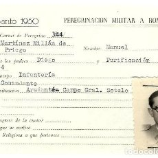 Militaria: MH27- COMANDANTE - EN PEREGRINACION MILITAR A ROMA - AÑO SANTO 1950 CARNET Nº 344. Lote 137296381