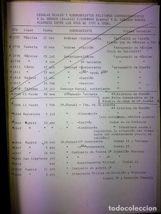 Militaria: GRAN FONDO DOCUMENTAL DE LA SAGA MILITAR ALDANESE. ANDRÉS, DOMINGO, DOMINGO M. ESPAÑA. 1757-1900 - Foto 14 - 90541385