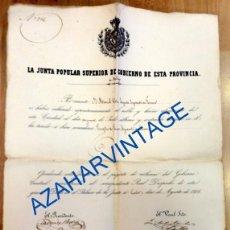 Militaria: CONCESION ASCENSO JUNTA DE MALAGA 1854 AYUDANTE FARMACIA,33X47 CMS. Lote 90718370
