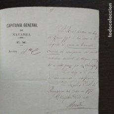 Militaria: 1875 GUERRAS CARLISTAS CAPITANIA GENERAL DE NAVARRA ASCENSO POR MERITO SITIO PAMPLONA CARLISTAS. Lote 91458820