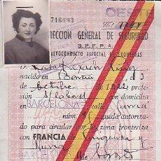 Militaria: SALVOCONDUCTO ESPECIAL DE FRONTERAS DIRECCION GENERAL DE SEGURIDAD . Lote 91742410