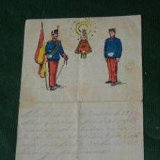 Militaria: ANTIGUA CARTA SOLDADO A SU FAMILIA 1915 CON ILUSTRACIÓN EN CABECERA. Lote 92050185