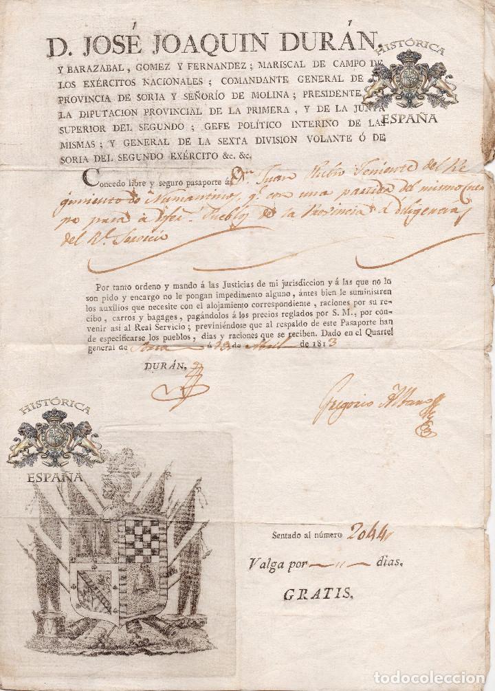 PASAPORTE 1813 -TENIENTE REG. D NUMANTINOS - GUERRA INDEPENDENCIA -FIRMA ORIGINAL JOSE JOAQUIN DURAN (Militar - Propaganda y Documentos)