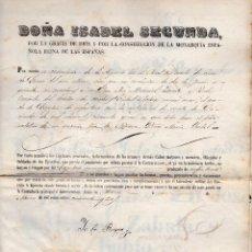 Militaria: CONCEDE GRADO DE CAPITÁN 1853 - FIRMA ISABEL II Y JUAN DE LARA. Lote 92112955