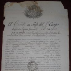 Militaria: DOCUMENTO 3 CUERPO EJERCITO ARAGON 1894. Lote 92228895