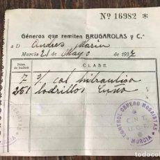 Militaria: DOCUMENTO CNT UGT - CONTROL OBRERO MOSAISTAS MURCIA - 1937 GUERRA CIVIL. Lote 93760115