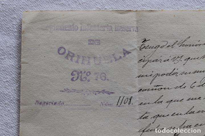 REGIMIENTO INFANTERIA RESERVA DE ORIHUELA Nº 76, FIRMADO CORONEL EN 1904 (Militar - Propaganda y Documentos)
