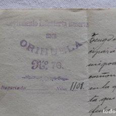 Militaria: REGIMIENTO INFANTERIA RESERVA DE ORIHUELA Nº 76, FIRMADO CORONEL EN 1904. Lote 94187285