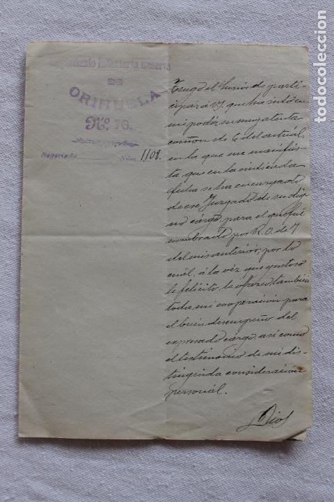 Militaria: REGIMIENTO INFANTERIA RESERVA DE ORIHUELA Nº 76, FIRMADO CORONEL EN 1904 - Foto 2 - 94187285
