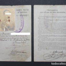 Militaria - CARNET TARJETA MILITAR DE IDENTIDAD 1922 +HOJA INSTRUCCIONES - 94239165