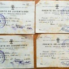 Militaria: FALANGE,4 RECIBOS FRENTE DE JUVENTUDES DE MATARO,BARCELONA, AÑO 1941-42,GUERRA CIVIL ESPAÑOLA,OJE. Lote 94287046