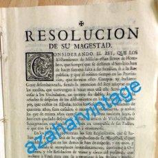 Militaria: RESOLUCION DE FELIPE V, 1743, SOBRE ALISTAMIENTO Y PRIVILEGIOS DE EXEMPCION A LAS MILICIAS,12 PAGINA. Lote 95505307