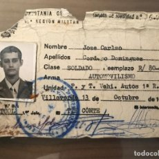 Militaria: ANTIGUO CARNET TARJETA MILITAR CAPITANÍA GENERAL AUTOMOVILISMO 1981 . Lote 95862251
