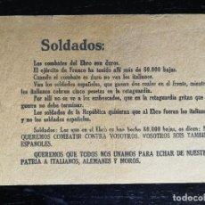 Militaria: PROPAGANDA REPUBLICA GUERRA CIVIL BANDO REPUBLICANO - BATALLA EBRO - PIDEN AL BANDO NACIONAL QUE LUC. Lote 96477731