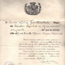 Militaria: CONDECE AUTORIZACIÓN MATRIMONIO GUERRA ÁFRICA 1927 SELLO BATALLÓN CAZADORES PRINCESA. Lote 96529479