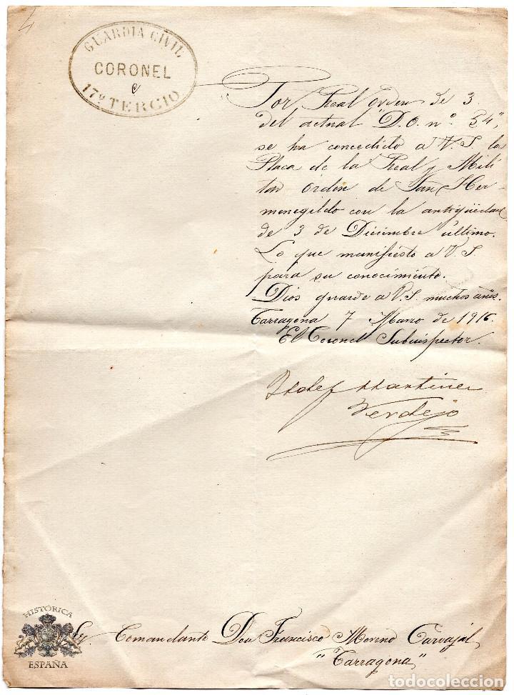OFICIO DE CONCESIÓN DE LA PLACA DE LA REAL Y MILITAR ORDEN DE SAN HERMENEGILDO 1916 - GUARDIA CIVIL (Militar - Propaganda y Documentos)