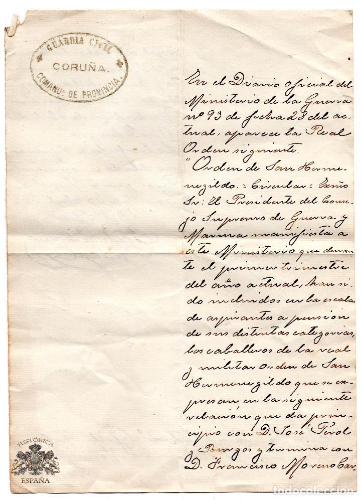 OFICIO REAL Y MILITAR ORDEN DE SAN HERMENEGILDO 1916 - GUARDIA CIVIL CORUÑA 1914 (Militar - Propaganda y Documentos)