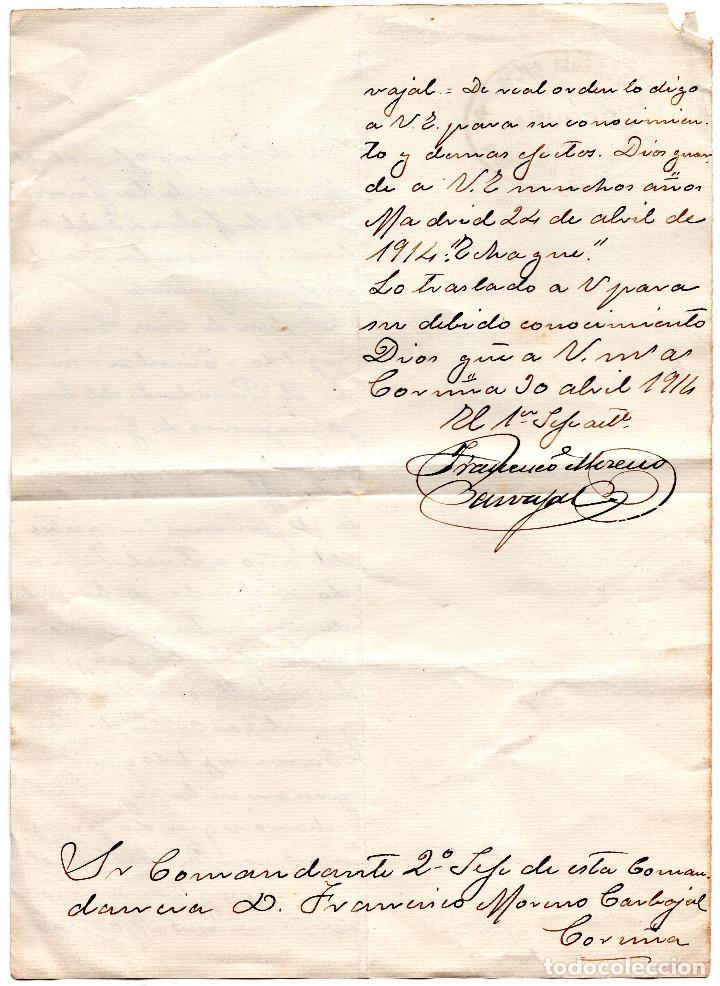 Militaria: OFICIO REAL Y MILITAR ORDEN DE SAN HERMENEGILDO 1916 - GUARDIA CIVIL CORUÑA 1914 - Foto 2 - 96538547
